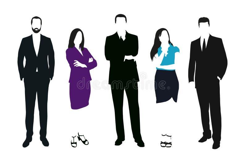 Insieme della gente di affari delle siluette di vettore illustrazione vettoriale
