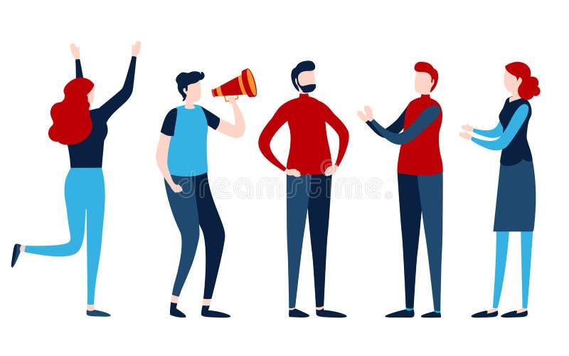 Insieme della gente Gruppo, gruppo, lavoro di squadra, persona Grafico piano dell'illustrazione del fumetto illustrazione di stock