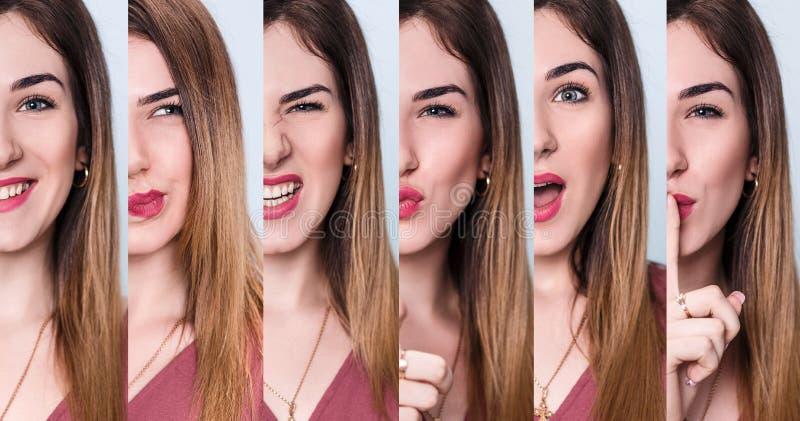 Insieme della giovane donna con differenti espressioni immagini stock