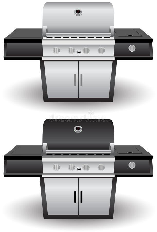 Insieme della griglia del barbecue dell'acciaio inossidabile (BBQ) illustrazione di stock