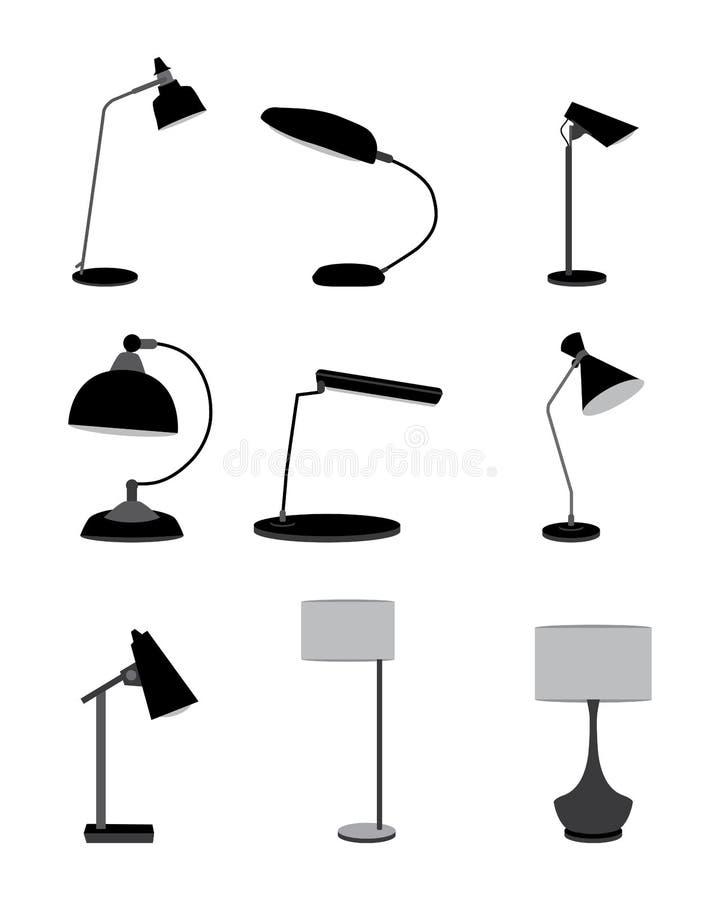 Insieme della lampada da tavolo royalty illustrazione gratis