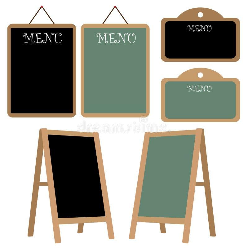 Insieme della lavagna del menu illustrazione di stock