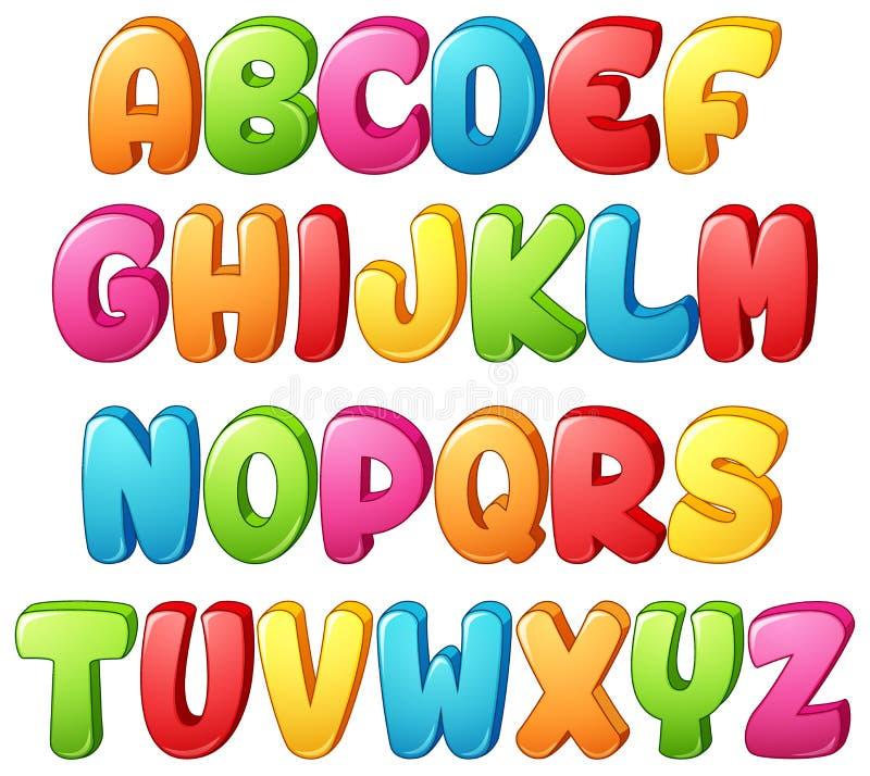 Insieme della lettera variopinta di alfabeti su un fondo bianco illustrazione vettoriale