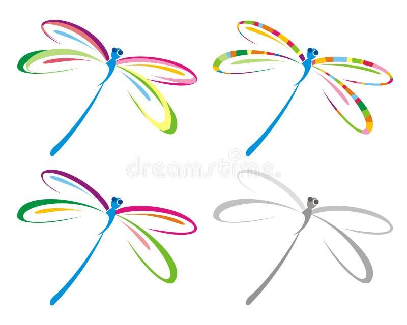Insieme della libellula di colore. illustrazione vettoriale