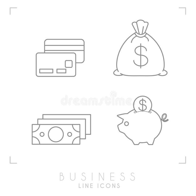 Insieme della linea affare sottile ed icone finanziarie royalty illustrazione gratis