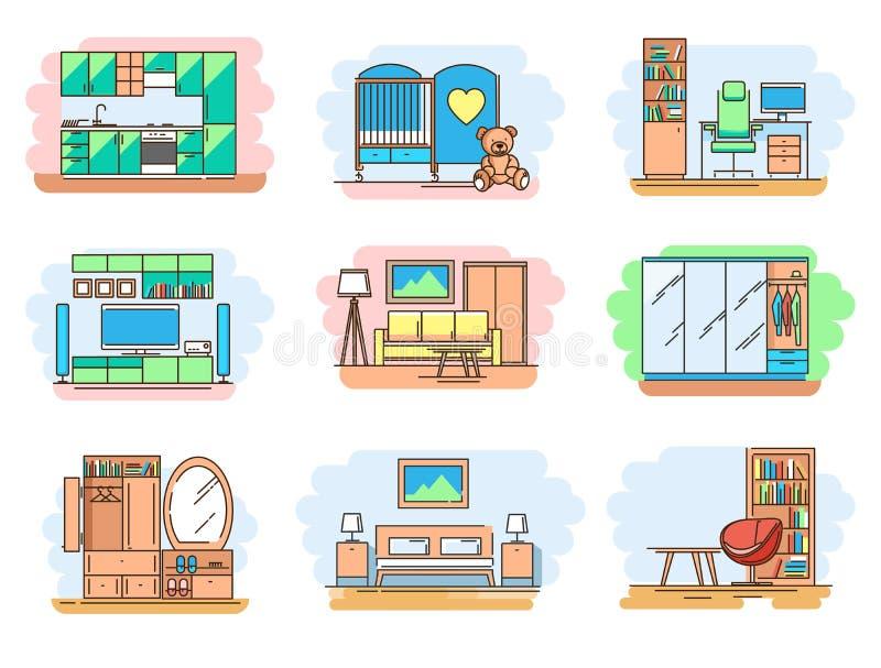 Insieme della linea aula magna di concetto delle icone e dei tipi mobilia illustrazione vettoriale