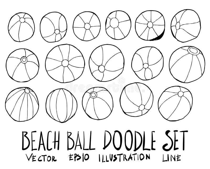 Insieme della linea disegnata a mano vec di schizzo di scarabocchio dell'illustrazione del beach ball royalty illustrazione gratis