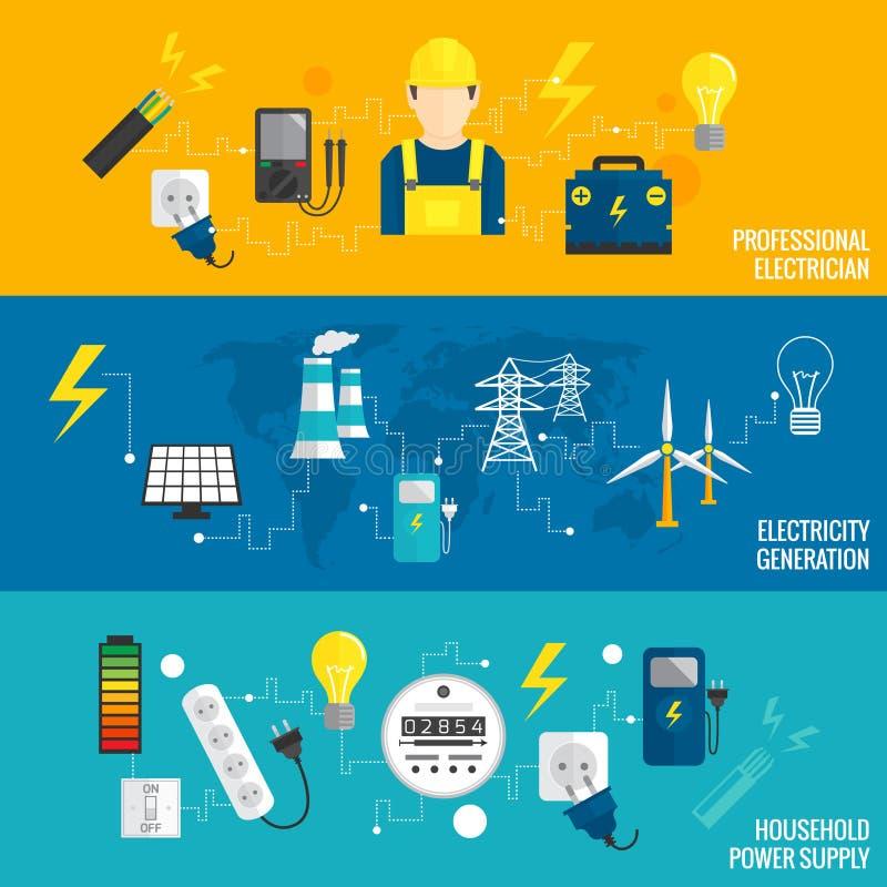 Insieme della linea generazione di energia dell'insegna illustrazione vettoriale