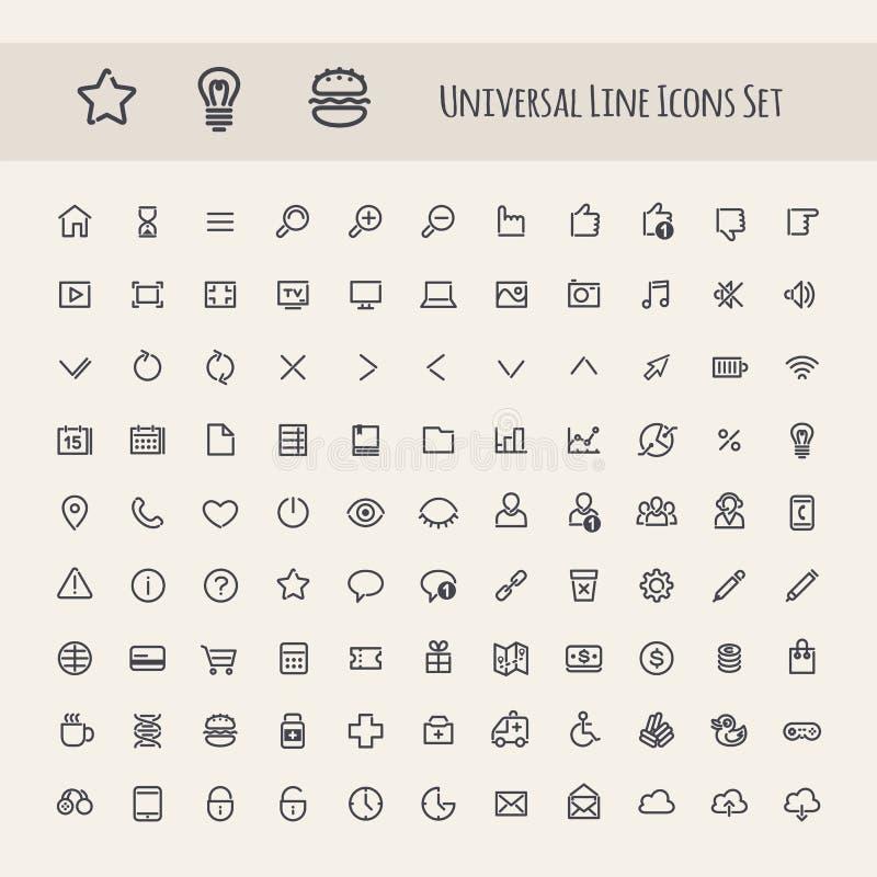 Insieme della linea icona dell'universale illustrazione vettoriale