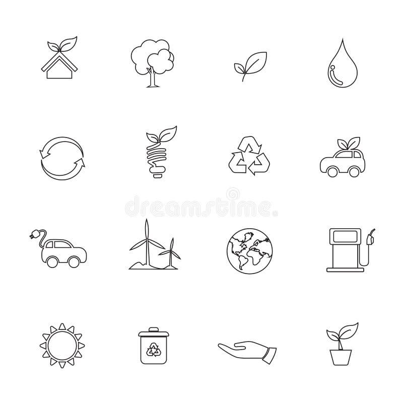 Insieme della linea icona di ecologia dell'elemento isolata su fondo bianco 00 royalty illustrazione gratis