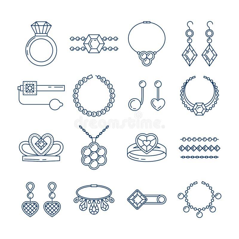 Insieme della linea icone dei gioielli di vettore Raccolta di lusso del diamante isolata su bianco Diadema a catena degli orecchi illustrazione di stock