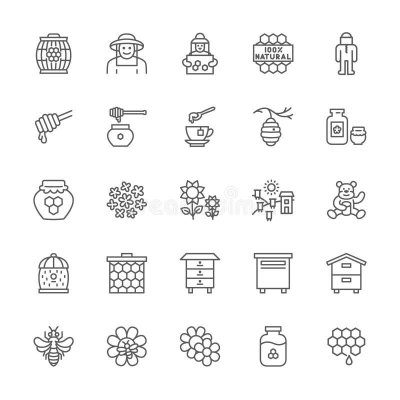 Insieme della linea icone del miele Apicoltore, vestito protettivo, arnia, alveare e più royalty illustrazione gratis
