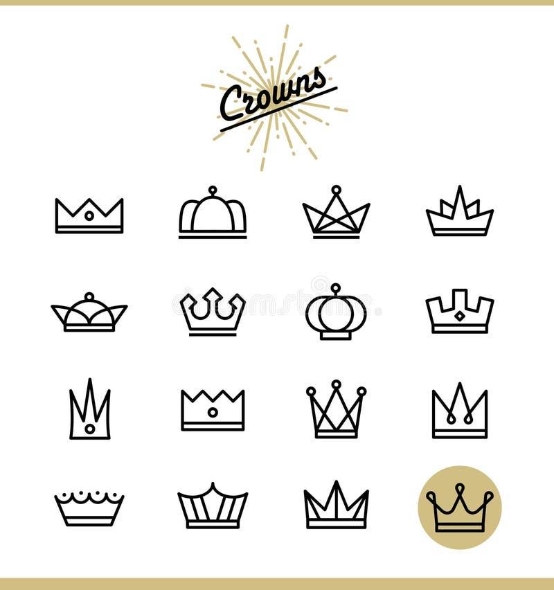 Insieme della linea icone della corona illustrazione vettoriale