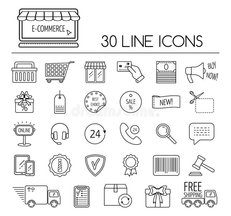 Insieme della linea icone di commercio elettronico Progettazione piana Vettore illustrazione vettoriale