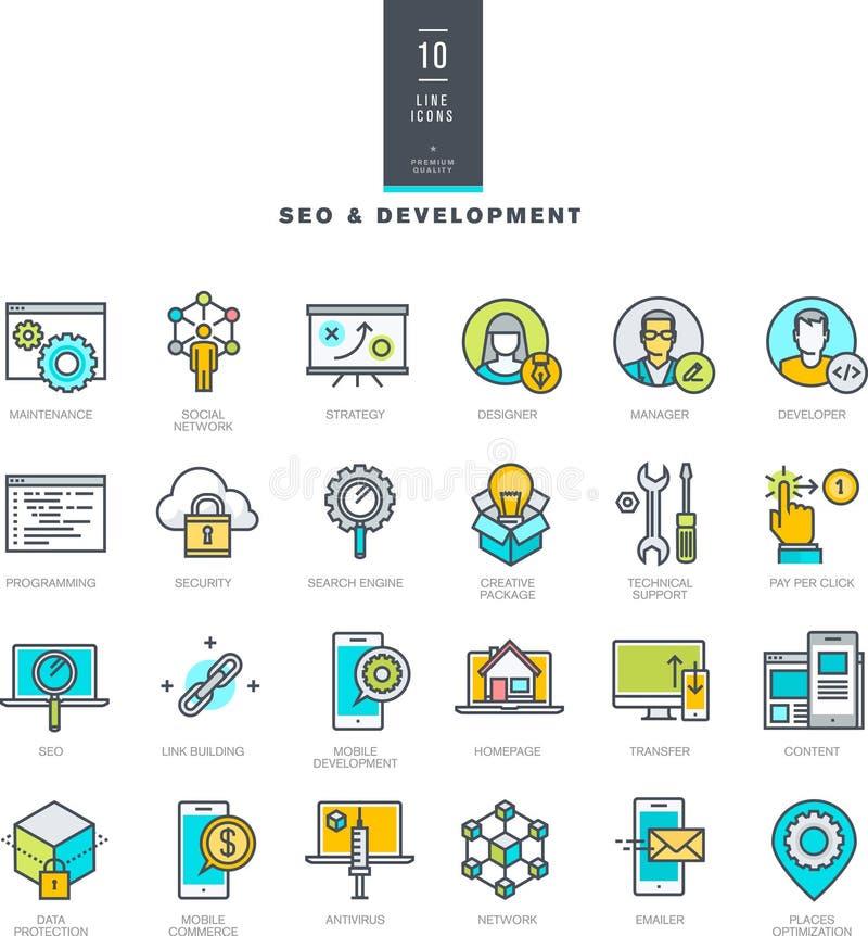 Insieme della linea icone moderne di colore per SEO e sviluppo di web illustrazione di stock