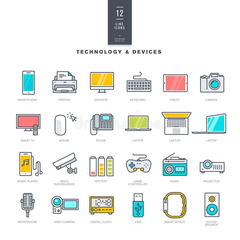 Insieme della linea icone moderne di colore per tecnologia e gli apparecchi elettronici illustrazione di stock