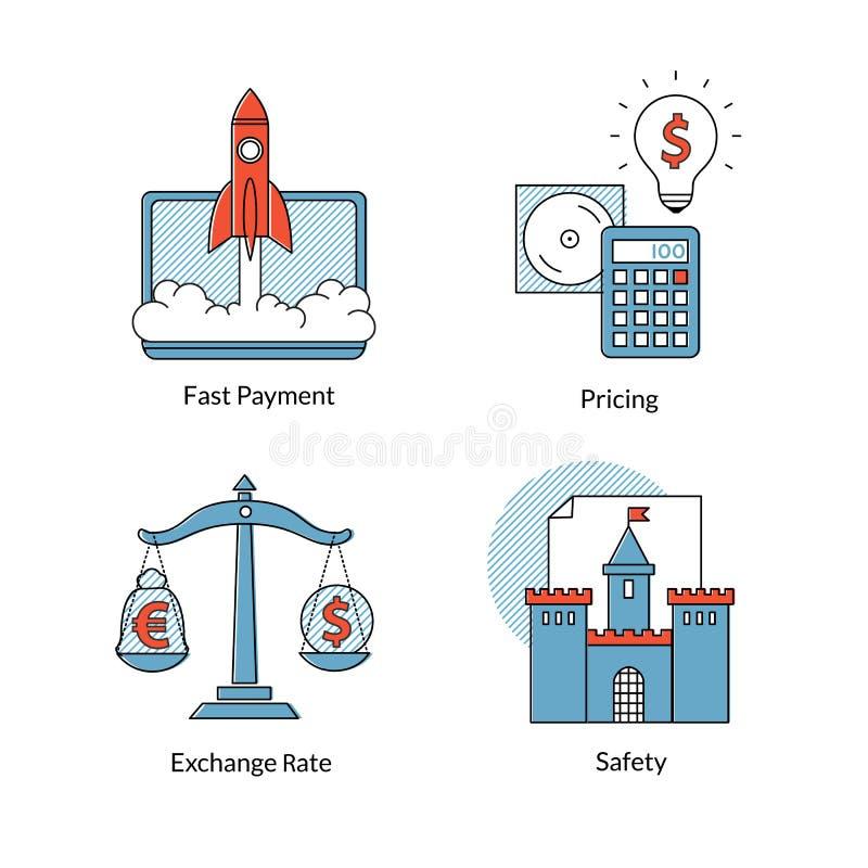 Insieme della linea icone, pagamento veloce, valutazione, sicurezza, valutazione di commercio elettronico royalty illustrazione gratis