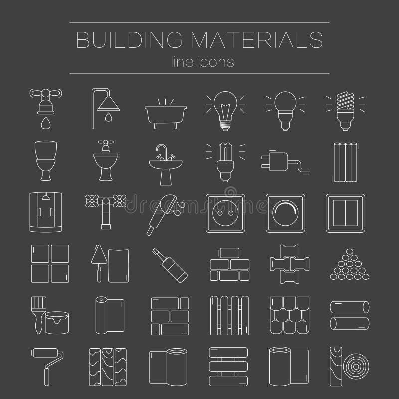 Insieme della linea icone per DIY, costruzione, materiali da costruzione illustrazione di stock