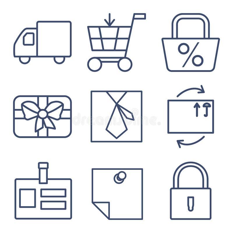 Insieme della linea icone per la compera, commercio elettronico illustrazione di stock