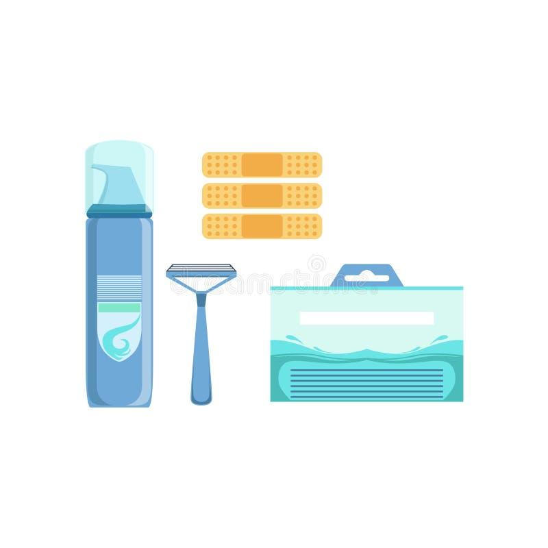 Insieme della linea maschio dermatologica specializzata dei cosmetici di Skincare per il trattamento di problemi di pelle con la  illustrazione di stock