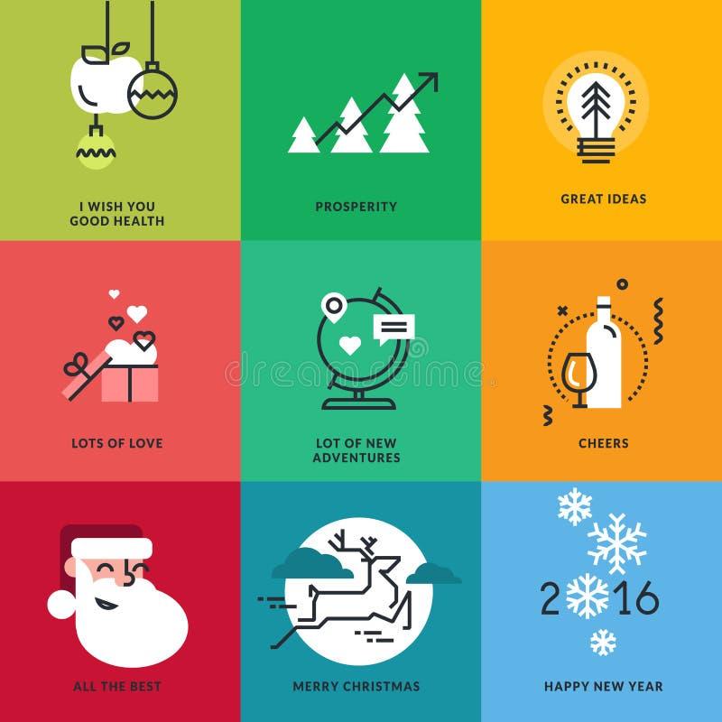 Insieme della linea piana segni di Natale e del nuovo anno di progettazione illustrazione vettoriale