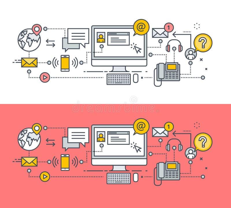 Insieme della linea sottile concetto di progetto piano per l'insegna del contatto illustrazione di stock