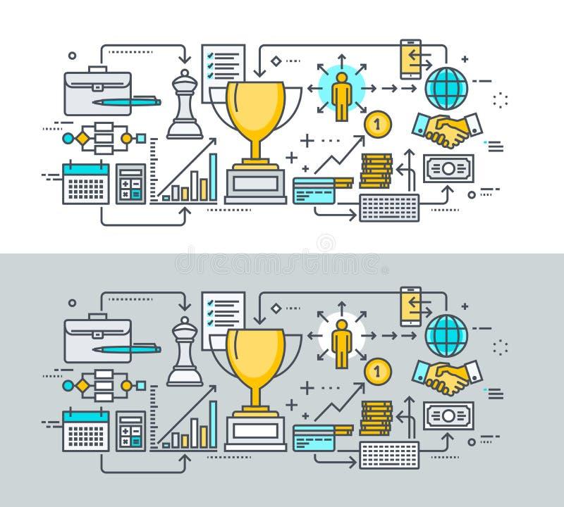 Insieme della linea sottile concetto di progetto piano sul tema di successo di affari royalty illustrazione gratis