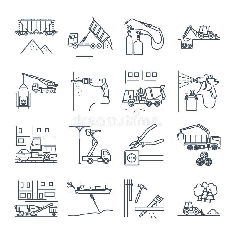 Insieme della linea sottile icone costruzione e del rinnovamento, attrezzatura illustrazione vettoriale