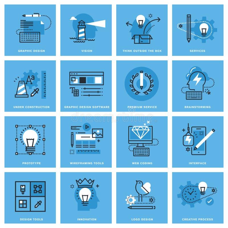 Insieme della linea sottile icone di concetto di progettazione grafica, del processo creativo, del web design e dello sviluppo illustrazione vettoriale