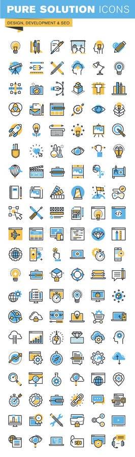 Insieme della linea sottile icone piane di progettazione di progettazione, di sviluppo di web e del seo royalty illustrazione gratis