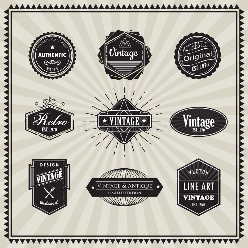 Insieme della linea sottile lineare elem del retro distintivo d'annata di progettazione di art deco illustrazione di stock