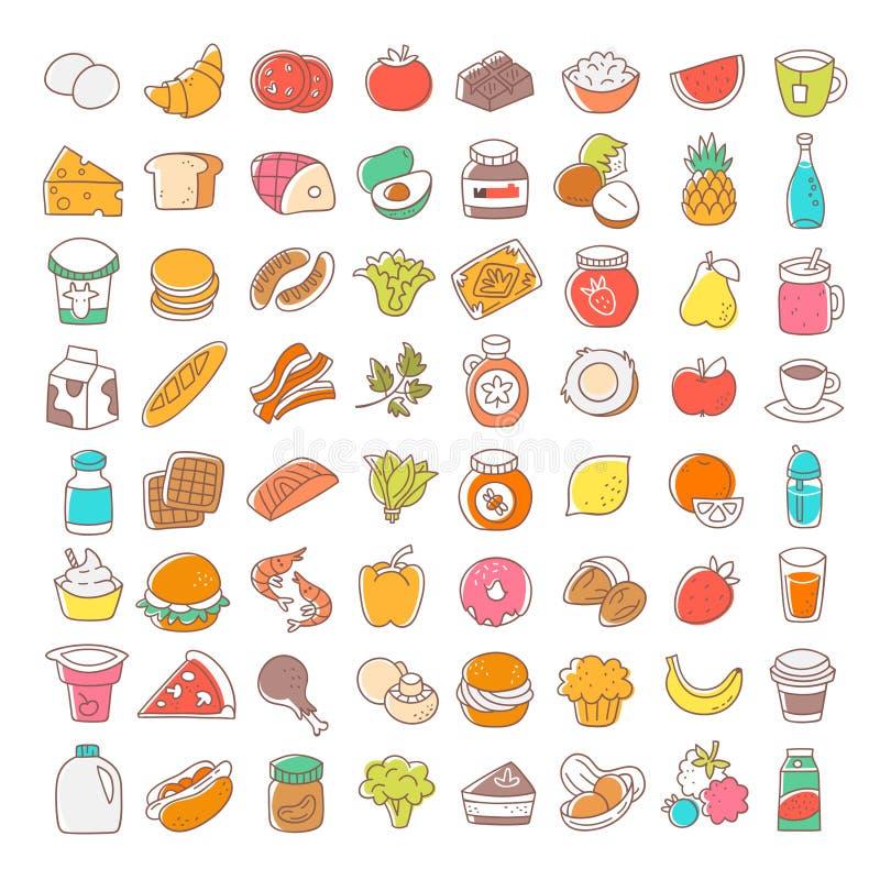 Insieme della linea sottile piana icone dell'alimento Elementi di vettore illustrazione vettoriale