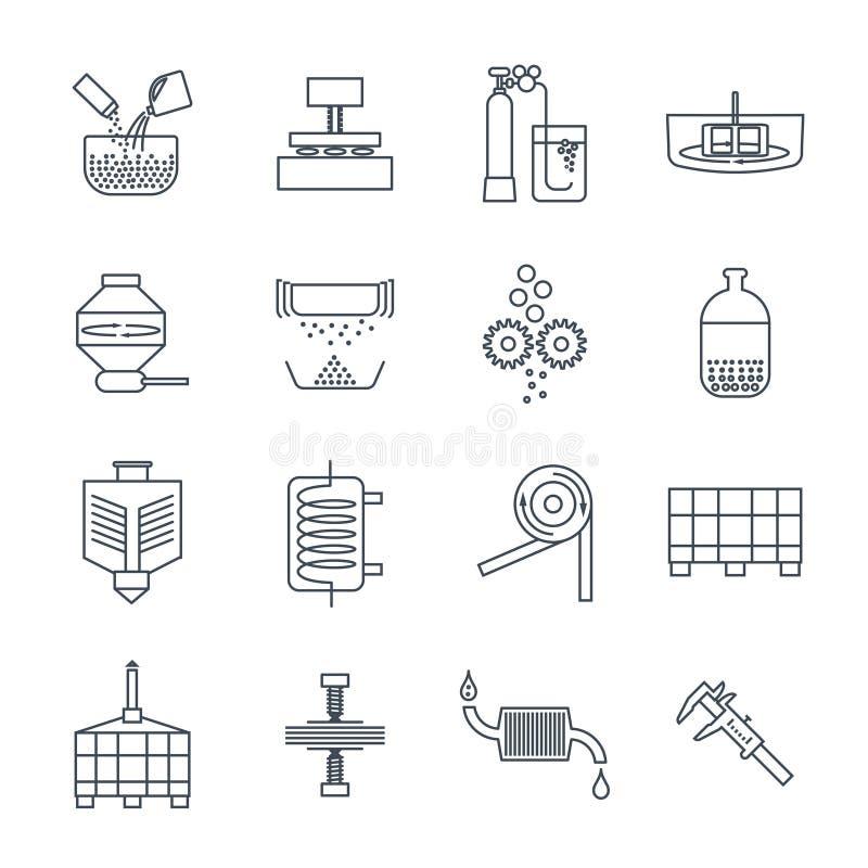 Insieme della linea sottile produzione industriale delle icone, fabbrica, attrezzatura illustrazione di stock