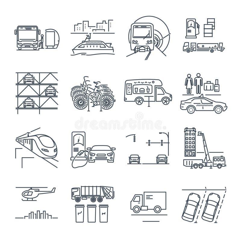 Insieme della linea sottile trasporto municipale della città delle icone, utilità illustrazione di stock