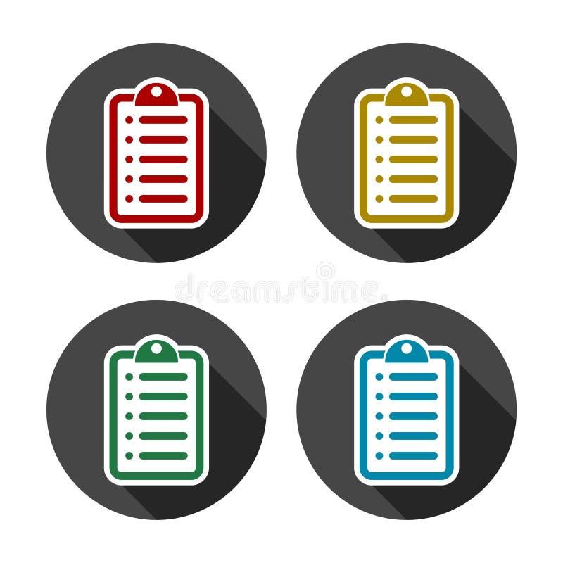 Insieme della lista di controllo di colore illustrazione vettoriale