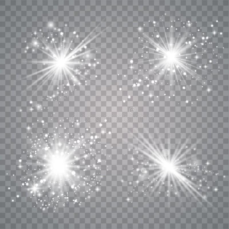 Insieme della luce di incandescenza bianca illustrazione vettoriale
