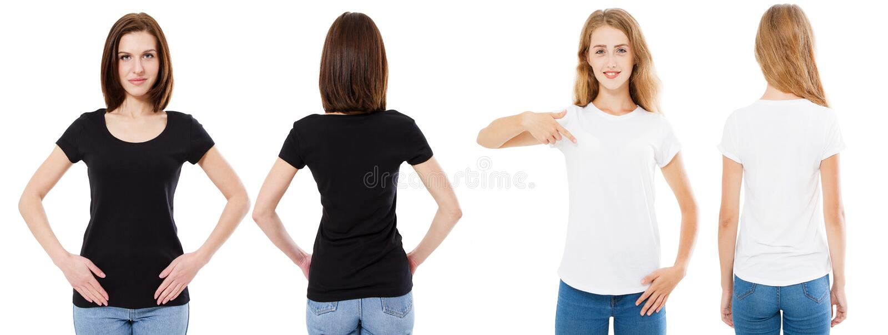 Insieme della maglietta Parte anteriore e vista posteriore castane e bionde in maglietta bianca e nera isolata Ragazza due in cam immagine stock