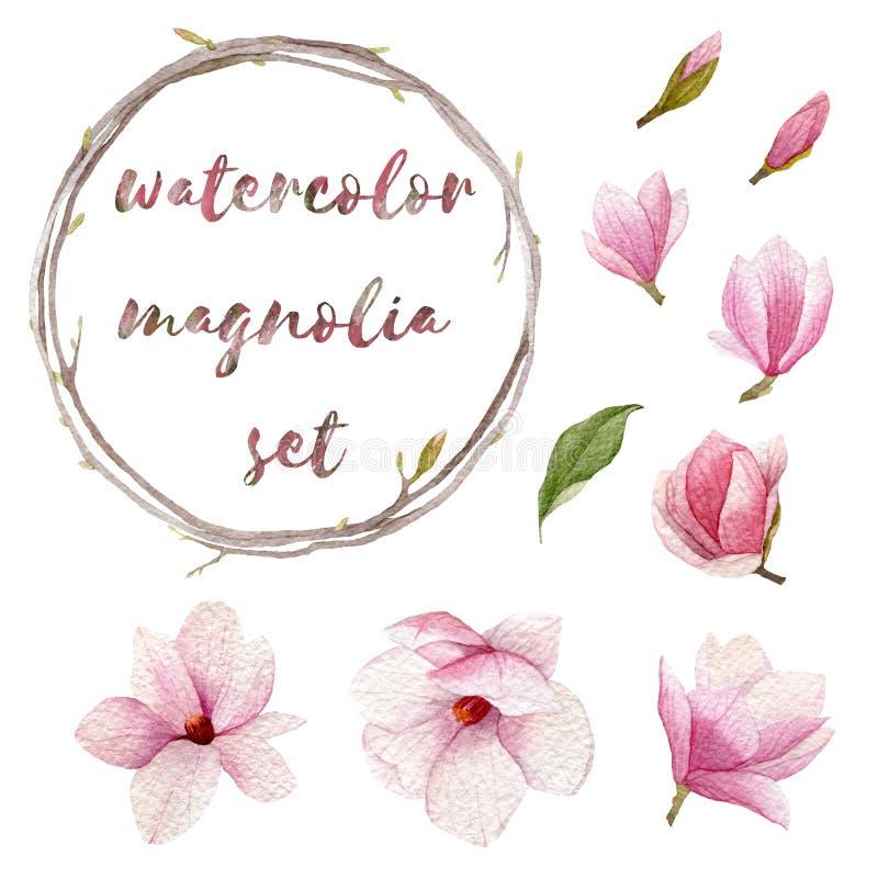 Insieme della magnolia dell'acquerello Elementi disegnati a mano della primavera per la vostra progettazione Fiori, germogli, cor royalty illustrazione gratis