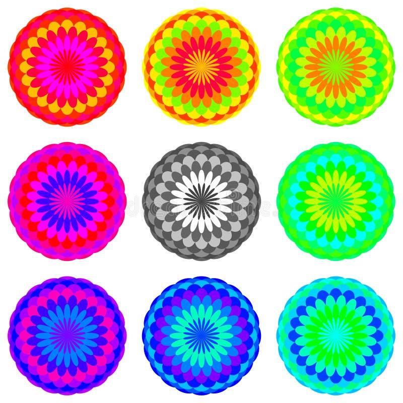 Insieme della mandala colorato arcobaleno astratto, fiori isolati su fondo bianco, fioriture multicolori, mandale esoteriche vari illustrazione vettoriale