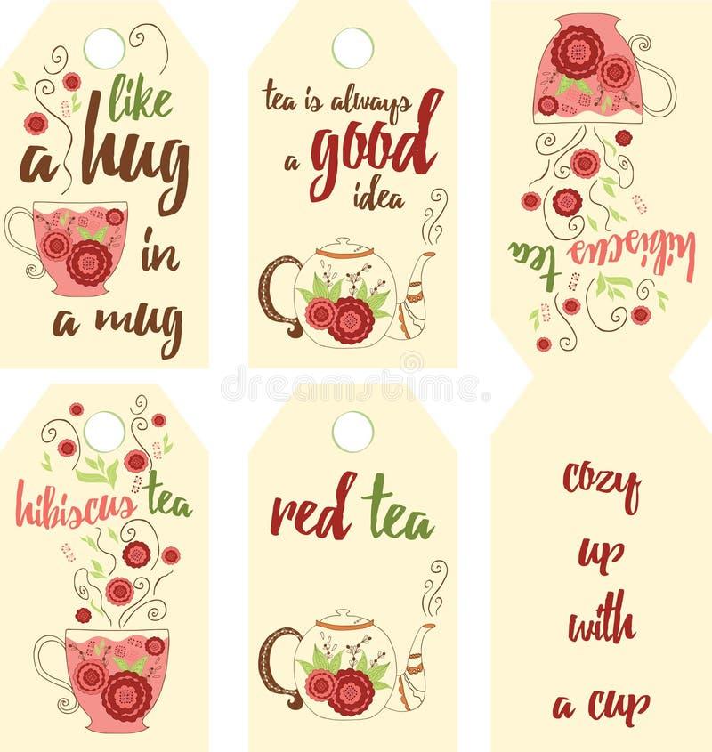 Insieme della mano che è in infusione le etichette rosse del tè con sapore dell'ibisco illustrazione di stock