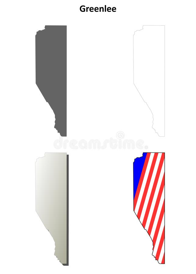 Insieme della mappa del profilo della contea di Greenlee, Arizona illustrazione di stock