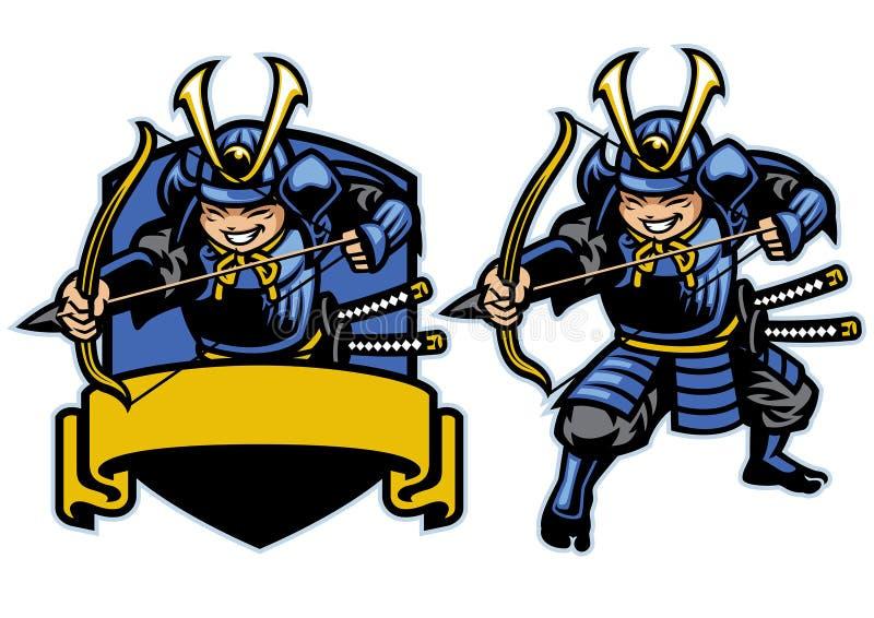 Insieme della mascotte dell'arcere del guerriero del ronin del samurai illustrazione di stock