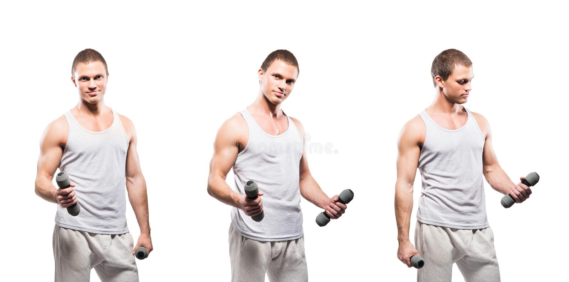 Insieme della misura e degli uomini sportivi del culturista isolati su bianco fotografia stock libera da diritti