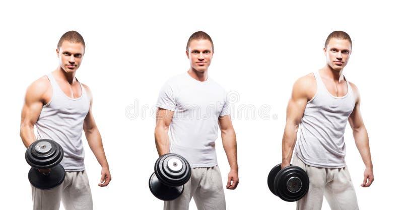 Insieme della misura e degli uomini sportivi del culturista isolati su bianco fotografie stock libere da diritti