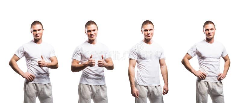 Insieme della misura e degli uomini sportivi del culturista su bianco immagine stock