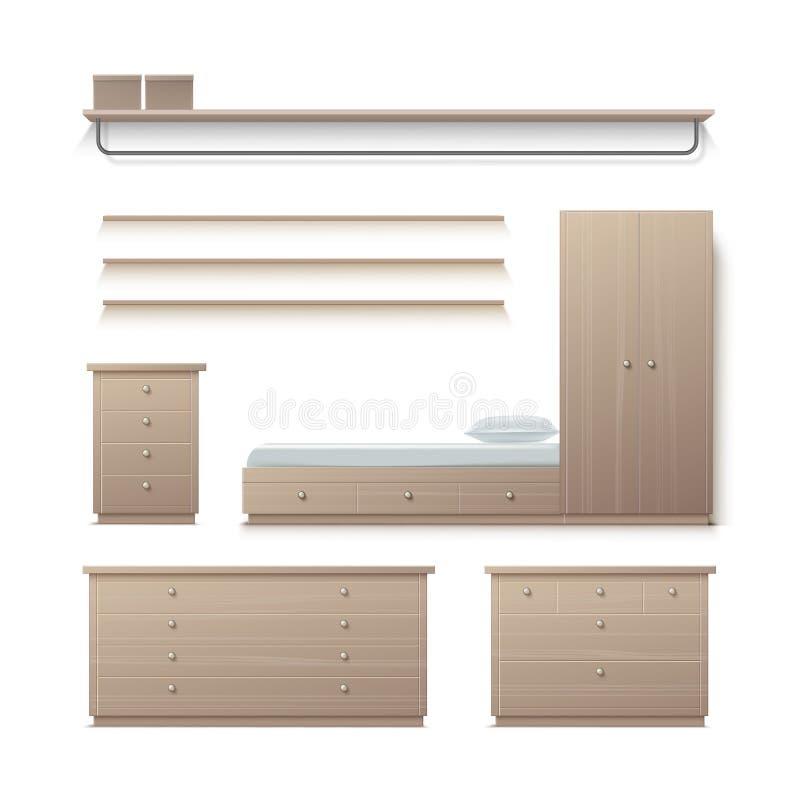 Insieme della mobilia del guardaroba illustrazione di stock