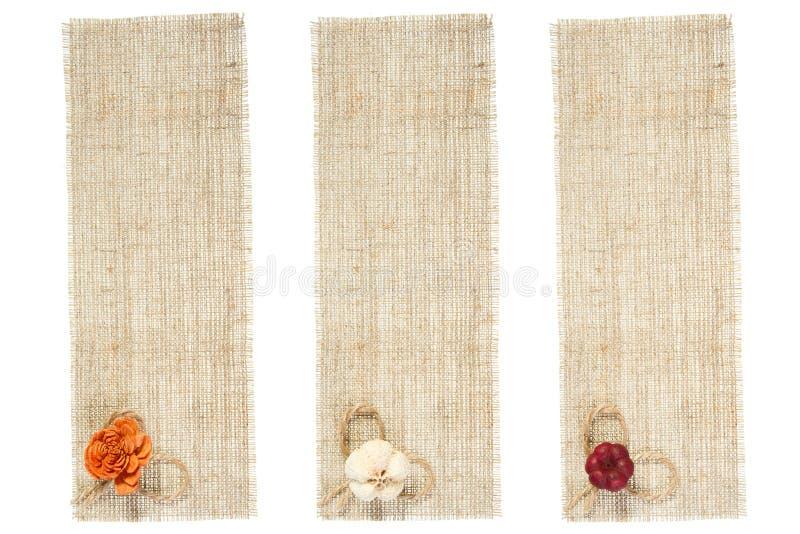 Insieme della modifica della tela di sacco con la decorazione immagini stock libere da diritti