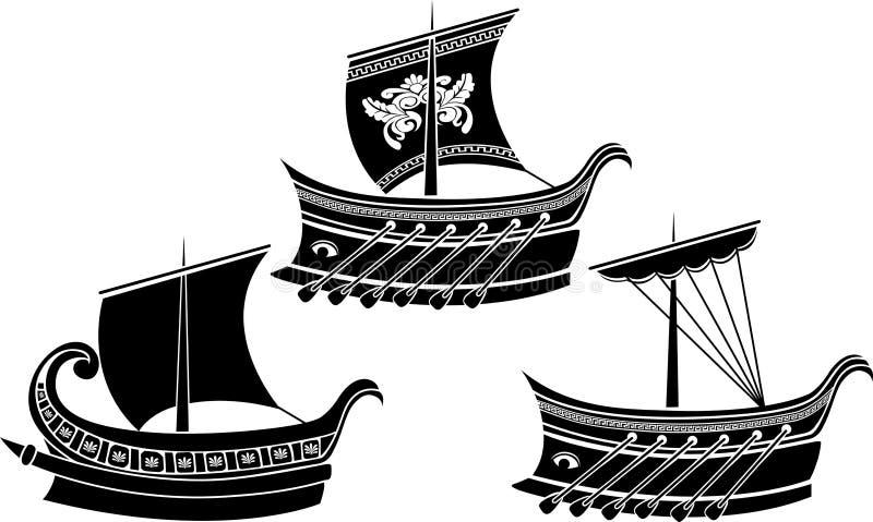 Insieme della nave del greco antico illustrazione vettoriale