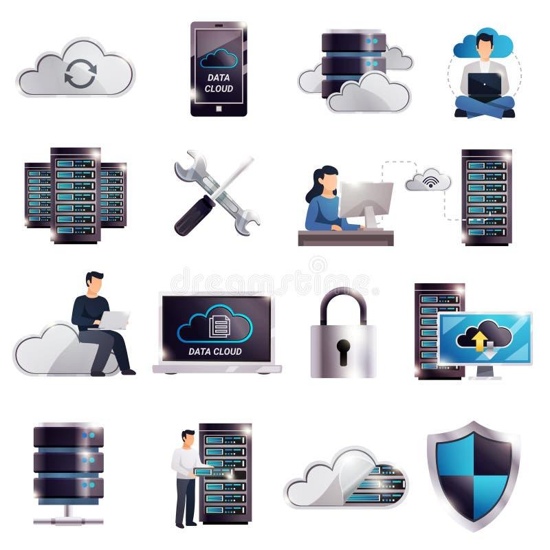 Insieme della nuvola del server ospite di centro dati illustrazione di stock