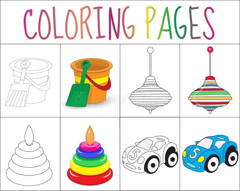 Insieme della pagina del libro da colorare Gioca la raccolta Versione di colore e di schizzo per i bambini L'istruzione dei bambi illustrazione di stock
